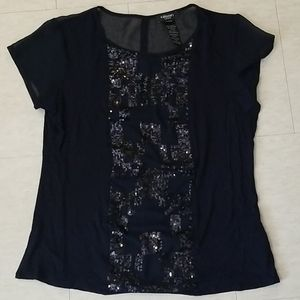 Olsen Europe bedazzled and Sheer shirt